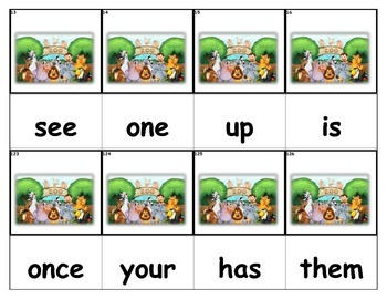 Dolch Words Flashcards - Zoo
