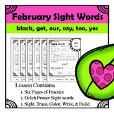 Kindergarten Sight Words Homework - Feburary