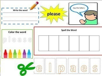 Dolch Words KINDERGARTEN: Task Card for Each Word + Matching Cards