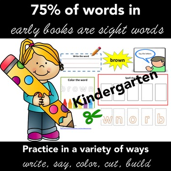 Sight Words KINDERGARTEN: ActivityTask Card for Each Word + Matching Cards