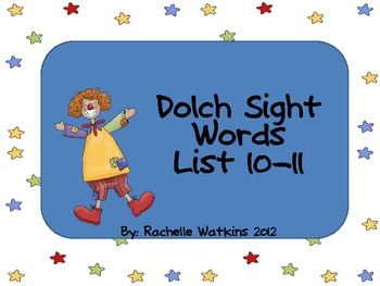 Dolch Words List 10 and 11 Center