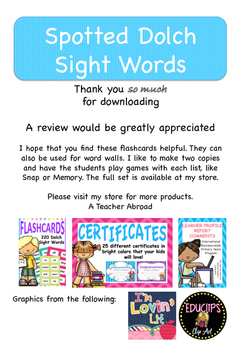 Dolch Sight Words List One (Spotted Flashcards)