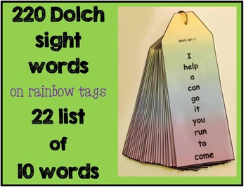 Dolch Word List Ringed Cards - Tags or Bookmarks