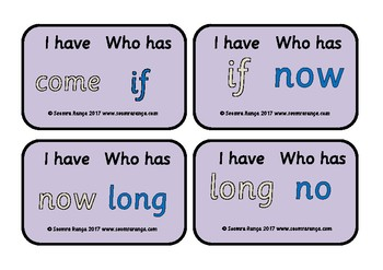 Dolch Words Loop Cards