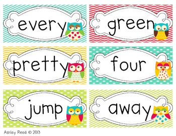 Dolch Words (Owl Word Wall Cards)