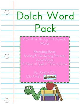 Dolch Words Pack Pre-Primer through 3rd Grade