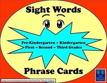 Sight Words Phrase Cards Pre-Kindergarten - Third Grade