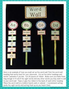 Polka Dot Dolch Word Wall