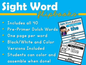 Sight Word Flip Book - Dolch Words - Pre-Primer