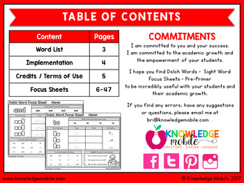 Dolch Words - Sight Word Focus Sheets - Pre-Primer