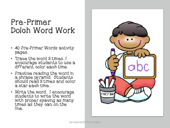 Dolch Words Pre-Primer Read and Write