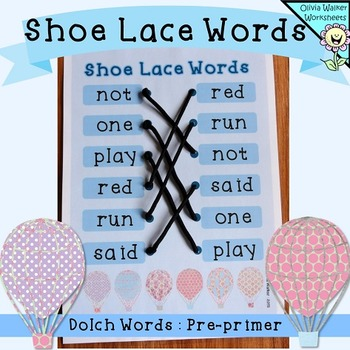 Dolch Words - Pre Primer - (Shoe Lace Word Match)