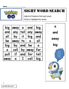 Dolch Words Pre-Primer through Grade 1 -WORD SEARCH -Pokém