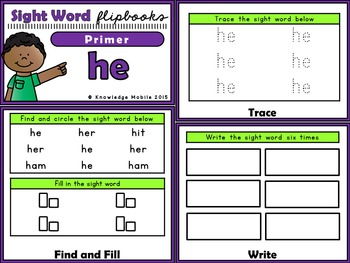 Sight Word Flip Book - Dolch Words - Primer