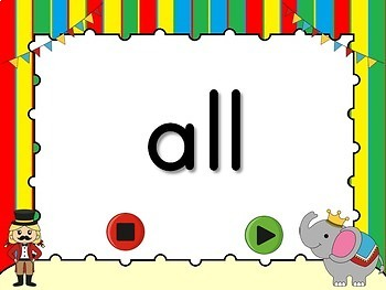 Dolch Words - Primer - Flash Card Set (Circus Theme)
