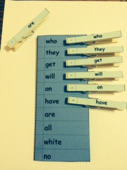 Dolch Words Activity - Clothespin Match