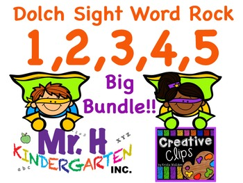 Dolch Words Rock Big Bundle 1,2,3,4,5 (Dolch Sight Words 1-50)