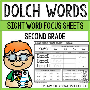 Dolch Words - Sight Word Focus Sheets - Second Grade