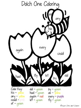 Dolch Words Spring Coloring Pages