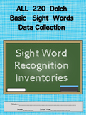 Dolch Words - Test Word Recognition -22 Student Pre/Post Cumulative Score-sheets