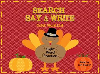 Dolch Words- Thanksgiving Search, Say & Write