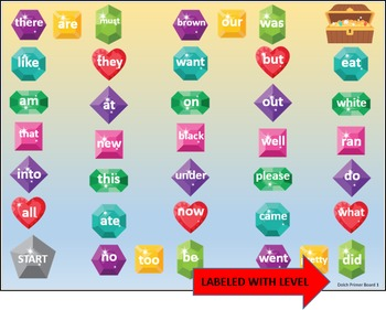 Sight Words - Treasure Chest Board Game