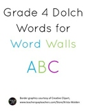 Grade 4 Dolch Words for Word Wall