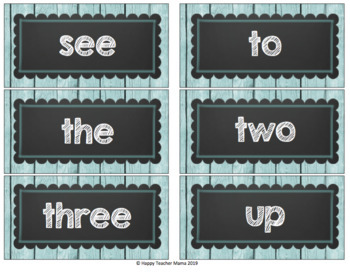 Dolch Words-Word Wall Cards (Rustic Coastal)