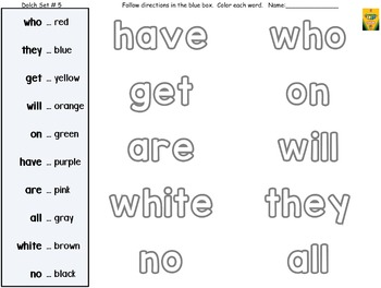 Dolch Words Worksheets: Follow Written Directions - Color Words