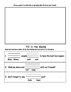 Dolch Words of the Week Activity Packet: Box Socials
