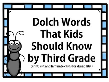 Dolch Words that Kids Should Know by Third Grade