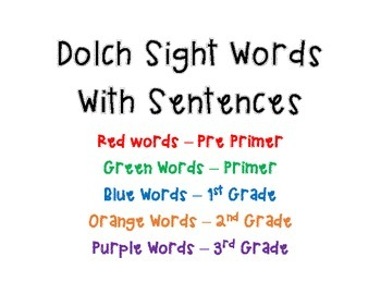 Dolch Words with Sentences