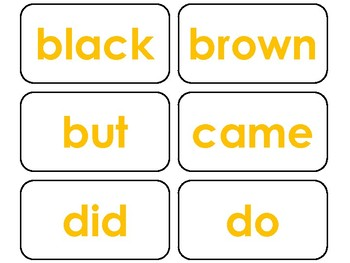 Dolch Yellow Bold Text Primer Sight Word Flash Cards in a PDF file. PreK-KDG