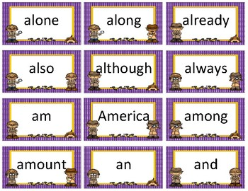 Dolch and Fry Sight Word Flash Cards~ Purple Polka Dot with Gold Trim Detective