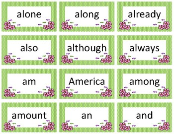Dolch and Fry Sight Word Flash Cards~ Spring