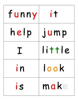 Dolch word list flashcards - decode by color!