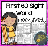 First 60 Sight Words,  60 Worksheets, Cute and Fun!