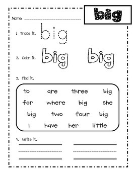 Dolch pre-primer sight word practice sheets!