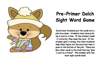 Dolch sight word games Pre-primer through 2nd grade