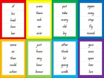 Dolch sight word goal strips and student cards