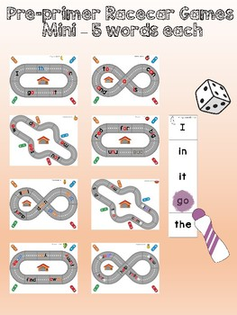 Dolch sight word racecar track games - pre-primer level