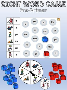 Dolch sight word spinner/dice game - pre-primer word list