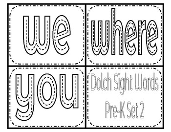 Dolch sight words PK set 2