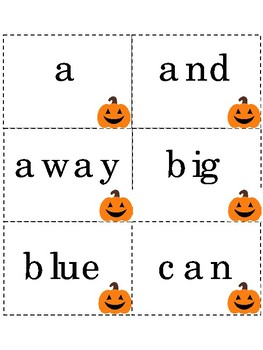 Dolch sight words flash cards Halloween themed