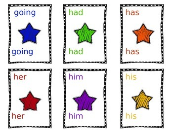 Dolch sight words game cards Grade 1