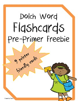 Dolch word flash cards: Pre-Primer