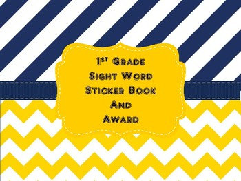 1st Grade Sight Word Sticker Book and Award