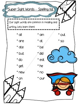 Dolch words - Super sight words packet