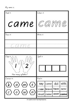 Dolch words - activity sheets - Primer level