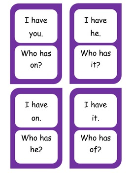 Dolch words list 1-I have...Who has? cards FREEBIE